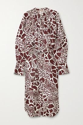 Adam Lippes Belted Printed Silk-twill Midi Dress - White