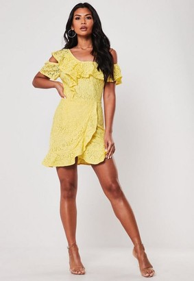 Missguided Yellow Lace Cold Shoulder Frill Tea Dress