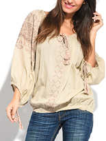 Miss June Beige & Choco Brown Embroidered Long-Sleeve Top