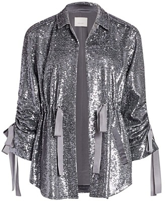 Cinq à Sept Mathieu Ruched Sequin Jacket