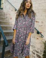 The Drop Women's Charcoal Floral Print 3/4 Sleeve Loose-Fit Shirt Dress by @spreadfashion M