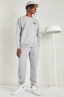 boohoo Mens Grey MAN Tracksuit with Sleeve Pocket, Grey