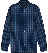 Jaeger Large Check Long Sleeve Shirt, Navy