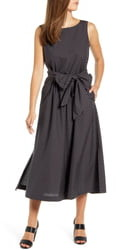 Anne Klein Check Cotton Midi Dress