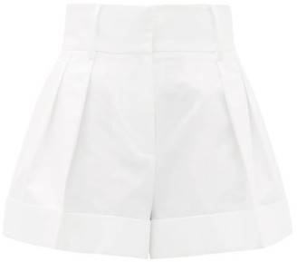 Valentino High-rise Pleated Cotton Shorts - Womens - White