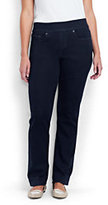 Lands' End Women's Plus Size Pull-on Straight Jeans-Champagne Marin Border Print