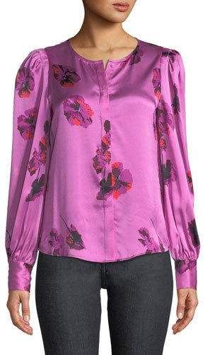 Joie Antonela Button-Front Long-Sleeve Floral-Print Satin Top