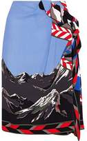 Emilio Pucci Warp-Effect Printed Crepe Skirt