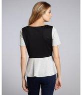 Wyatt heather grey colorblock peplum short sleeve top