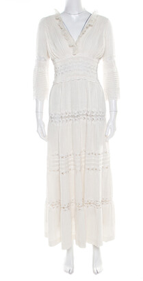 Chloé Cream Linen Pintucked Lace Paneled Maxi Dress S