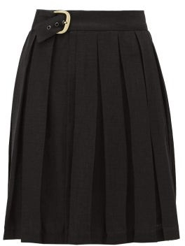 Art School - Belted Pleated-linen Skirt - Womens - Black