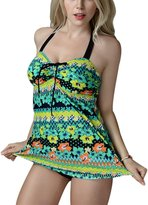 FEOYA Women's Floral Print Two-Piece Swimsuit Plus Size Swimwear with Bottoms XL