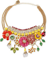 Necklace, Flower & Rhinestone Frontal Necklace