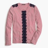J.Crew Long-sleeve striped T-shirt with lace