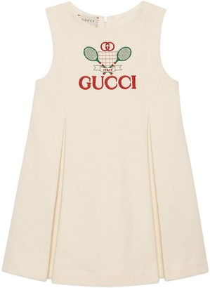 Gucci Children's cotton dress with Tennis embroidery