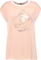 Vionnet Appliquéd silk-blend charmeuse top