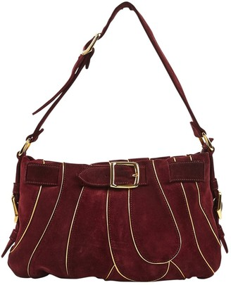 Chloé Burgundy Suede Backpacks