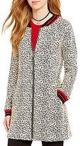 Sanctuary Ribbed Collar Zip Front Leopard Print City Coat