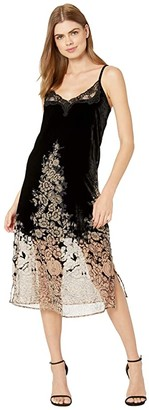 The Kooples Maxi, Slip, Velvet Dress with Lace Neckline and Burnout Floral Print on Skirt (Black/Ecru) Women's Clothing