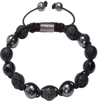 Nialaya Men Beaded Bracelet with Black Cubic Zirconia Crystal, Lava Stone, Matte Onyx and Agate