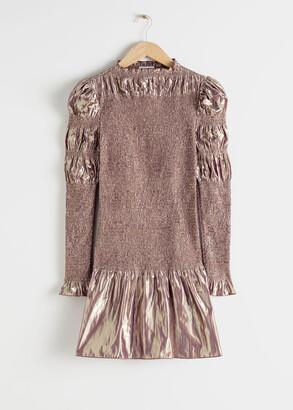 And other stories Smocked Metallic Mini Ruffle Dress