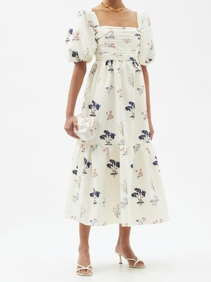 Self-Portrait Puff-sleeve Floral-print Taffeta Dress - Ivory Multi