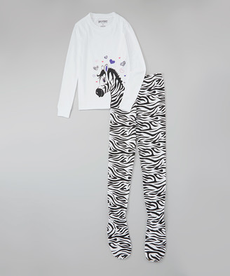 Big Feet Pjs Girls' Sleep Bottoms White - White Zebra Footie Pajama Set - Girls