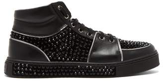Balmain Strass High Top Leather Trainers - Mens - Black