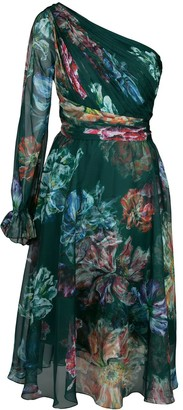 Marchesa One Shouldered Floral Dress