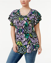 Melissa McCarthy Trendy Plus Size Flutter-Sleeve Top