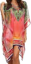 21451 Sakkas Tala Rhinestone Accented Multicolored Sheer Caftan Top / Cover Up - OS