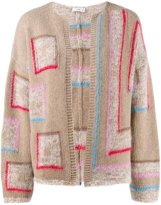 Closed collarless knitted cardigan