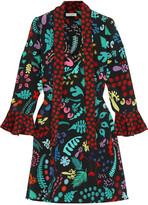 RIXO London Lulu Printed Silk Mini Dress - Black