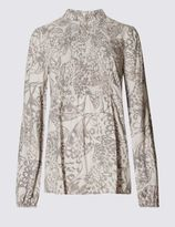 Marks and Spencer Smocked High Neck Long Sleeve Blouse