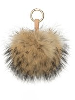 LITHER Real Sliver Fox Fur Pom Pom for Mobile Strap Coppia Keychain Fluffy Fox Fur Ball