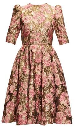 Dolce & Gabbana Metallic Rose-jacquard Dress - Womens - Gold Multi