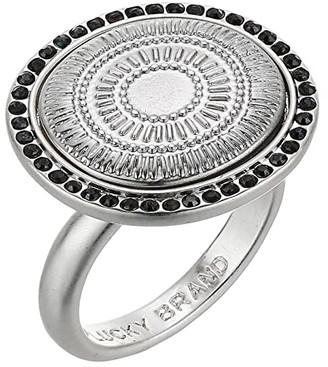 Lucky Brand Hammered Circle Statement Ring (Silver) Ring