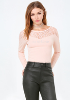 Bebe Logo Lace Detail Top