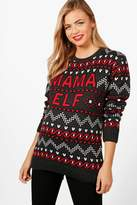 boohoo Maternity Vic Mama Elf Christmas Jumper