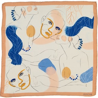 The Pathline Pink Lemonade Women Faces Square Silk Scarf