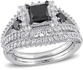 Julie Leah 2 CT TW Black and White Diamond 10K White Gold Bridal Set