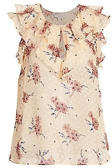 Joie Women's Eddison Ruffle Silk-Blend Floral Top
