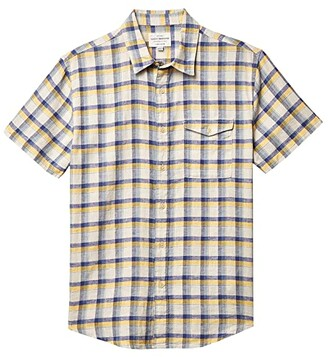 Lucky Brand Plaid Monroe Short Sleeve Shirt (Yellow Plaid) Men's Clothing
