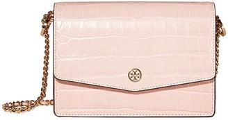 Tory Burch Robinson Embossed Mini Shoulder Bag (Mineral Pink) Handbags