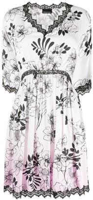 Ermanno Ermanno Floral Print Lace Trim Dress