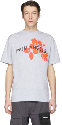 Palm Angels Grey Hibiscus T-Shirt