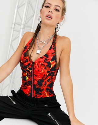 Jaded London halter neck corset crop top in flame print-Red