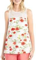 Kensie Sleeveless Floral-Print Lace Top