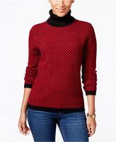 Karen Scott Petite Patterned Turtleneck Sweater, Only at Macy's