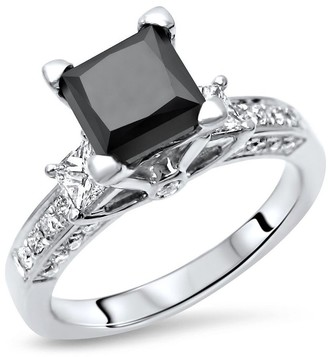 Front Jewelers 14k White Gold 2.50ct Princess Cut 3 Stone Black Diamond Engagement Ring